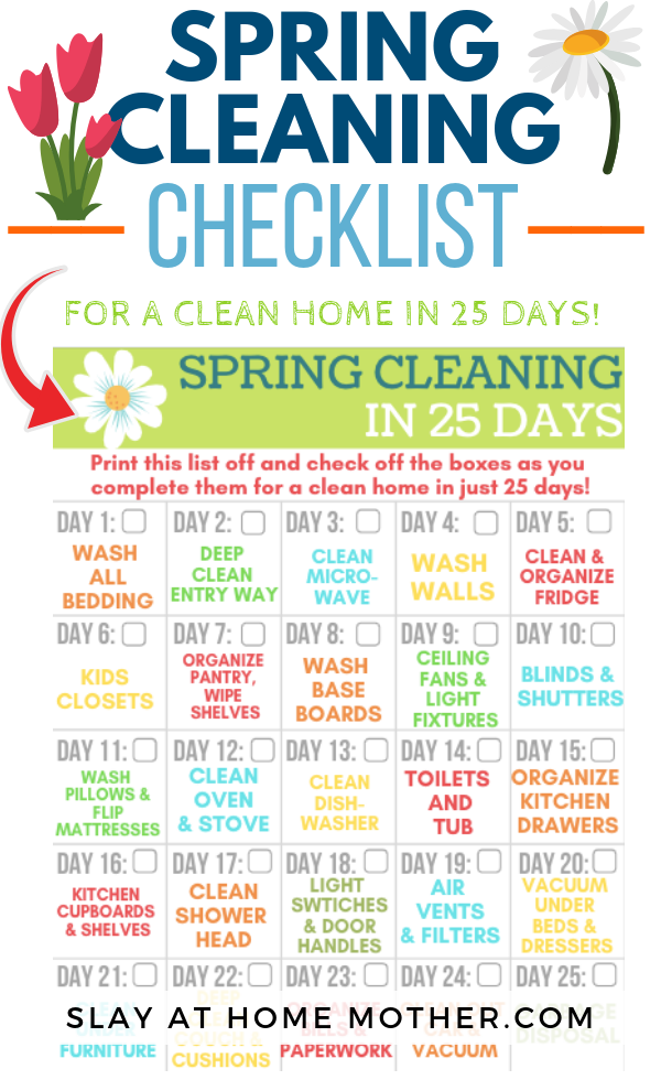 Spring Cleaning Checklist #springcleaning #cleaninghacks #slayathomemother - SLAYathomemother.com
