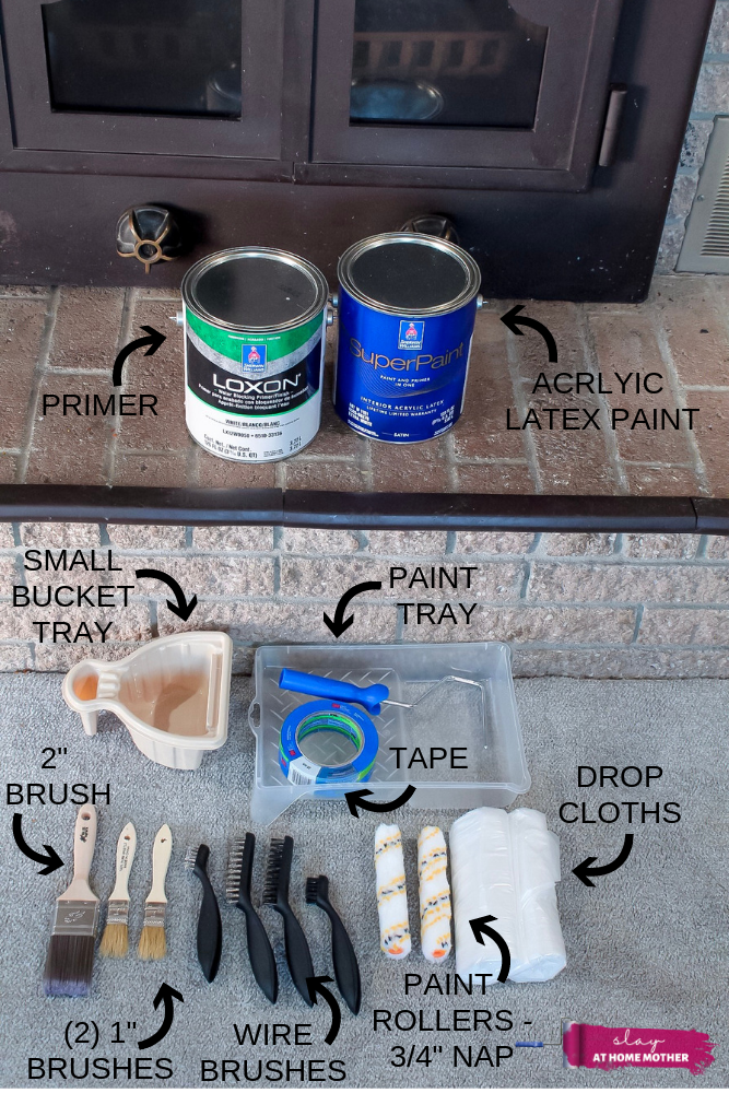 Shot of materials you need to clean, prime, and paint a brick fireplace