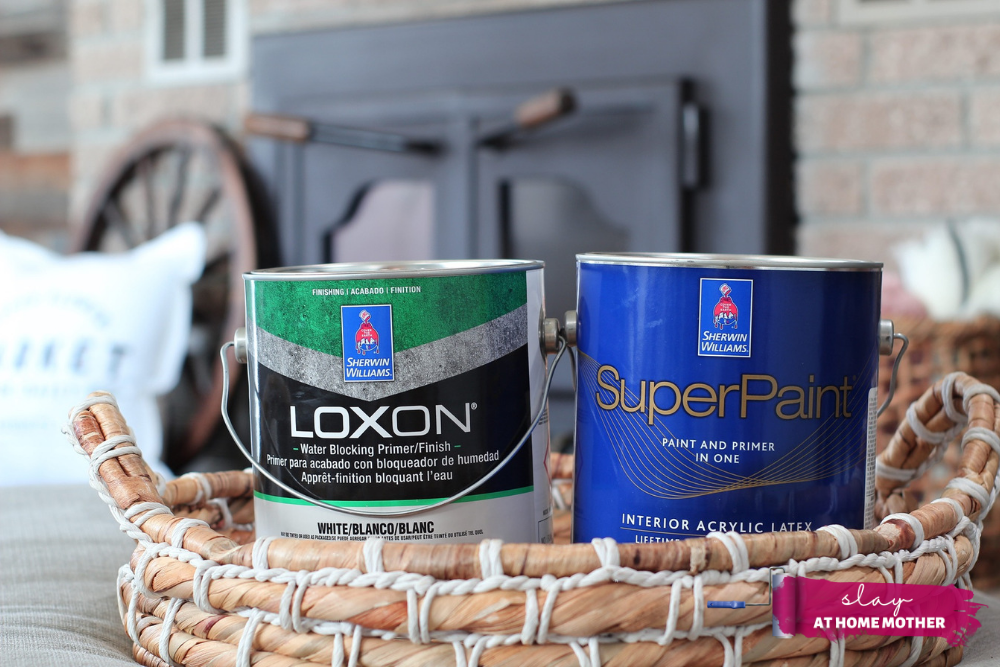 Primer and paint you need for painting a brick fireplace (loxon primer and superpaint from sherwin-williams)