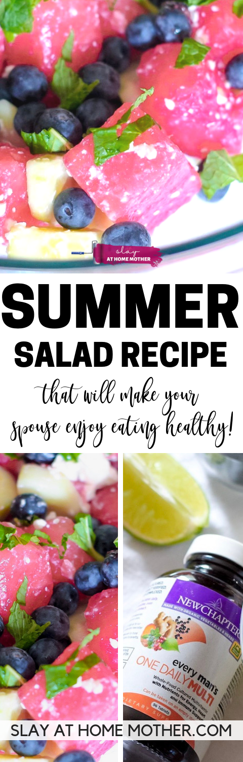 Summer Salad Recipe With Watermelon, Cucumber, Blueberries, Mint, Feta Cheese, & Lime - this reicpe will make your spouse ENJOY eating healthy! - SLAYathomemother.com