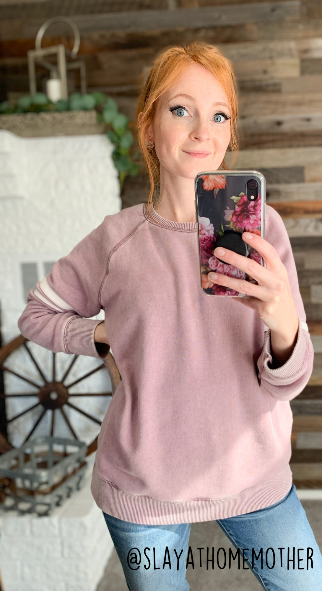 cute spring outfits - purple sweater from AE - slayathomemother.com