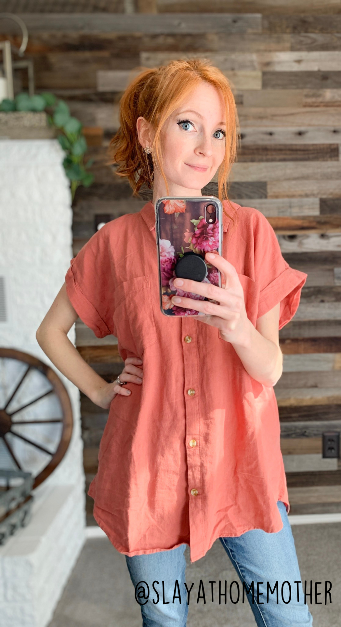 cute spring outfits pink button up from roolee - slayathomemother.com