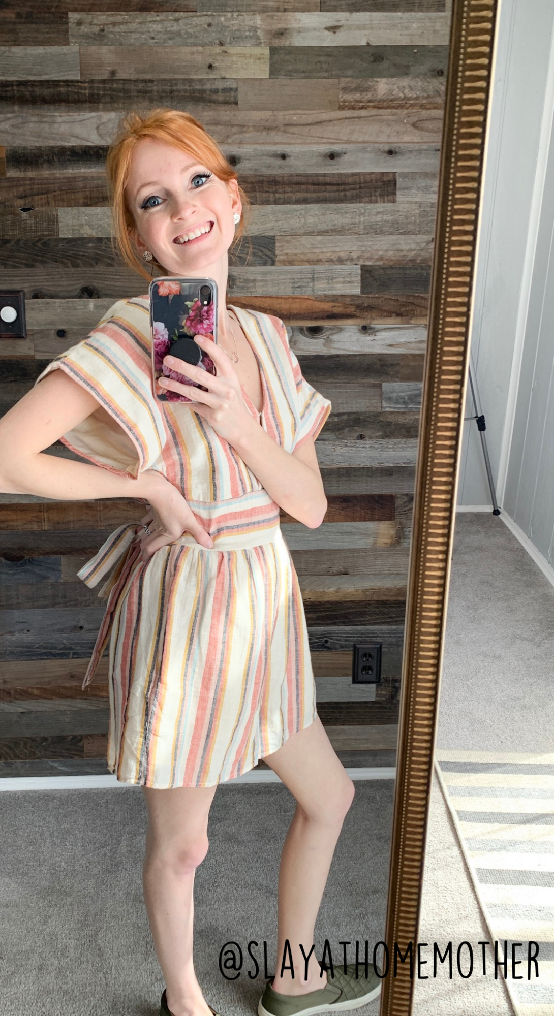 cute spring outfits - striped kimono romper from AE - slayathomemother.com