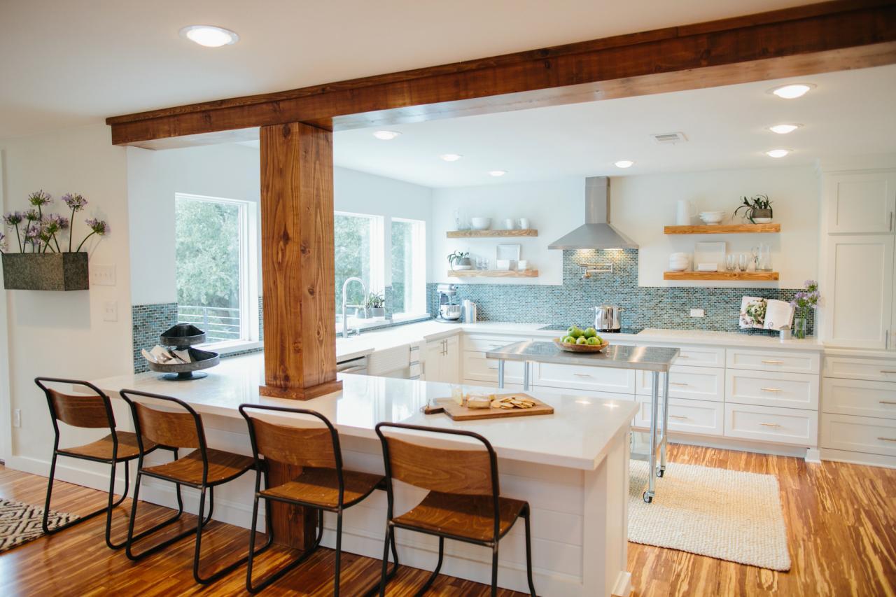 fixer upper kitchens blue backsplash