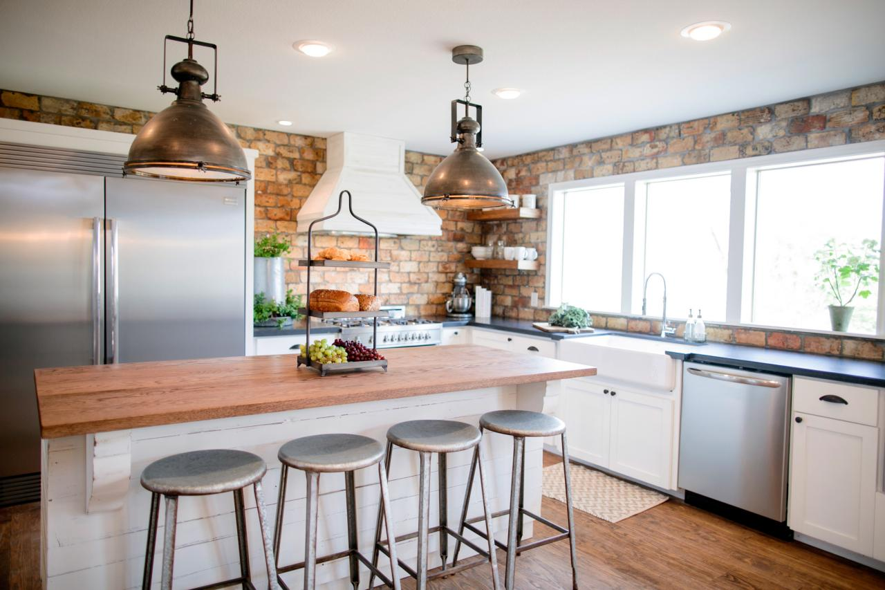 fixer upper kitchens brick