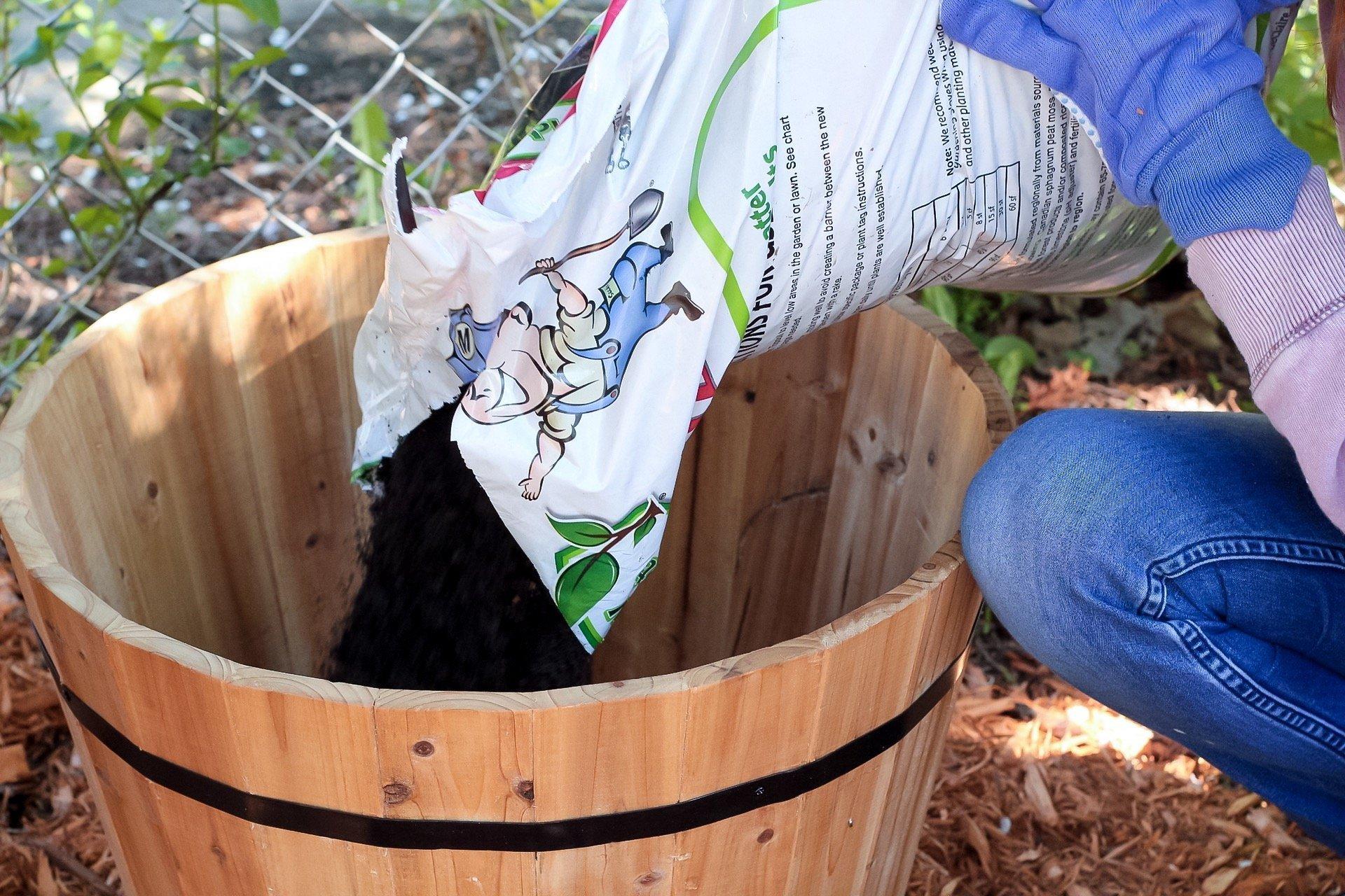 gardening tips - filling barrel