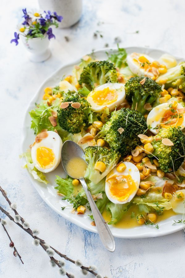 Broccoli-egg-salad-with-corn-and-honey-mustard-dressing