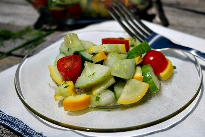Squash Cucumber Tomato Garden Salad