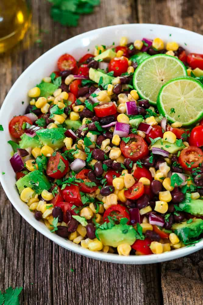 Avocado Black Bean Corn Salad with Cilantro Lime Dressing