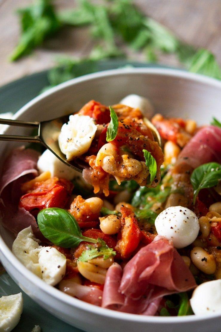 Warm White Bean Salad With Tomato, Prosciutto, & Baby Mozzarella
