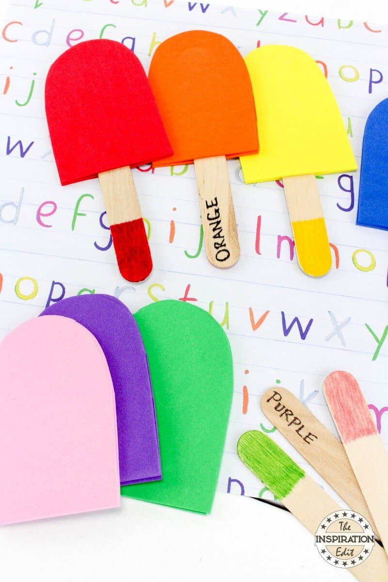 Color Matching Popsicle Sticks