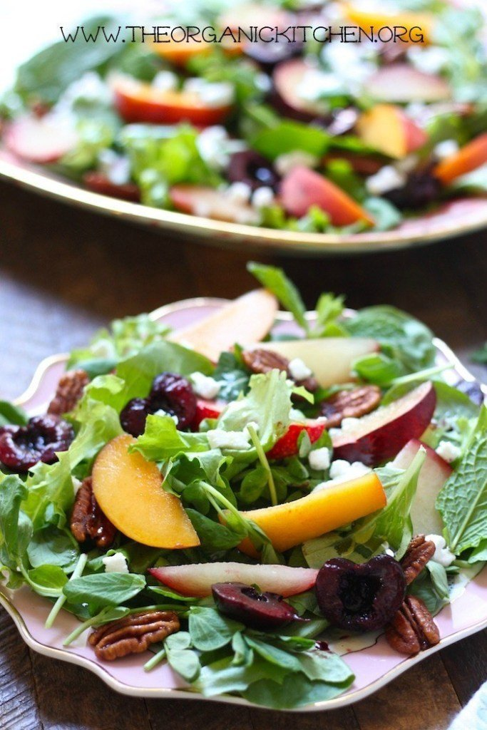 peach plum and cherry salad with balsamic vinaigrette