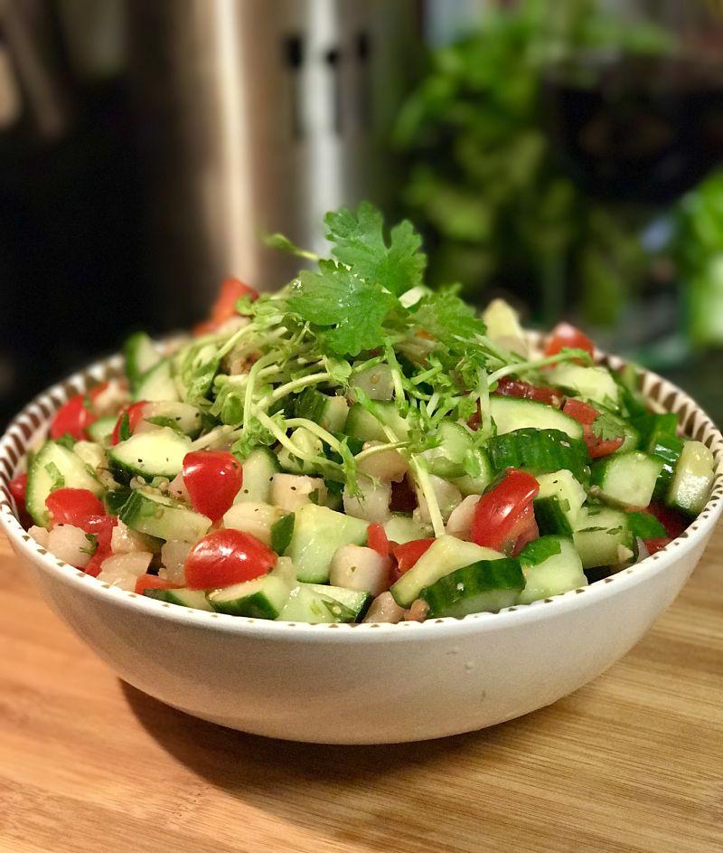 Spicy Cucumber Tomato Water Chestnut Salad