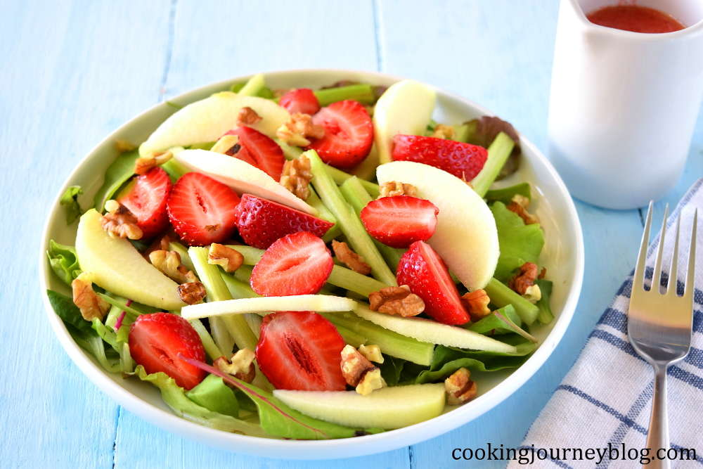 summer salad recipe with strawberries, apples, and rhubarb
