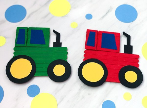 Popsicle Stick Tractor Craft
