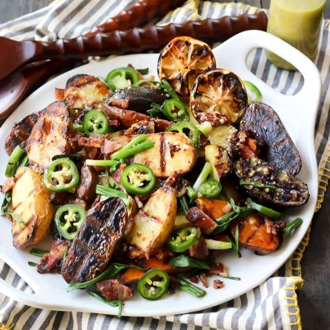 Grilled Potato Salad With Onions & Mustard Vinaigrette