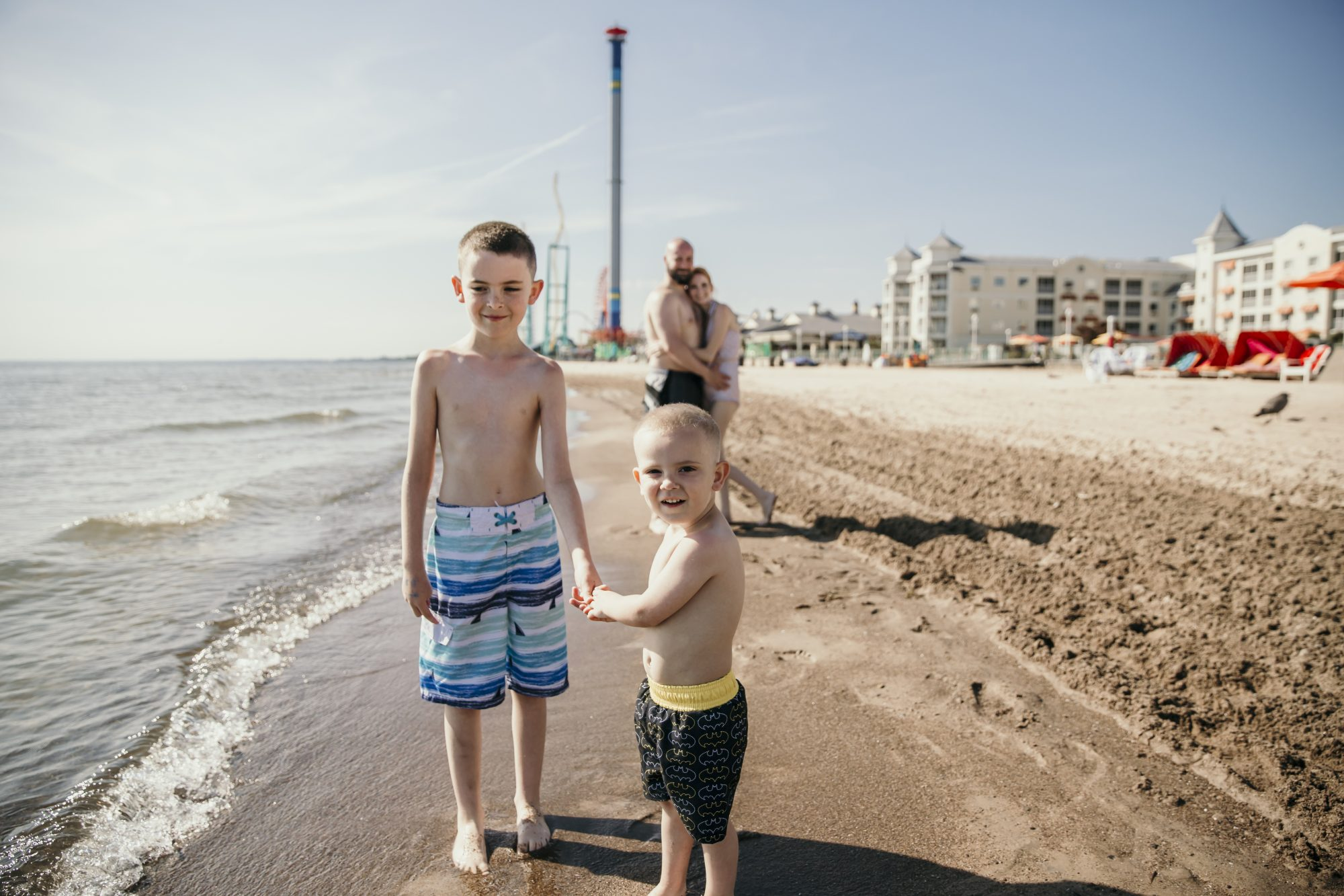 on the beach at hotel breakers in cedar point