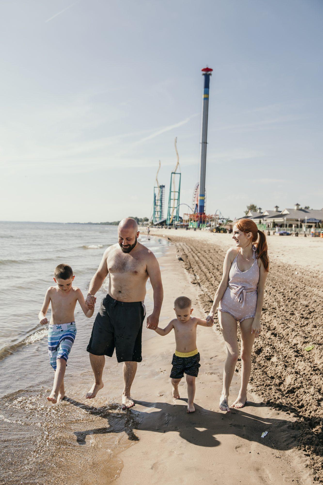 walking along the beach at hotel breakers in cedar point