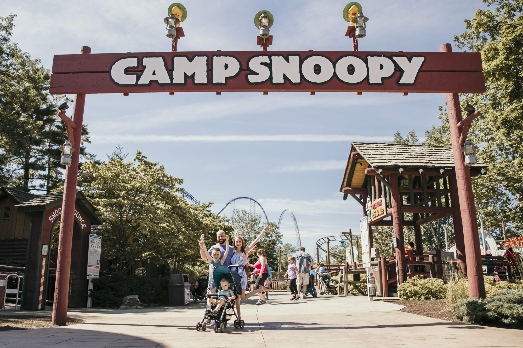 standing in front of camp snoopy at cedar point