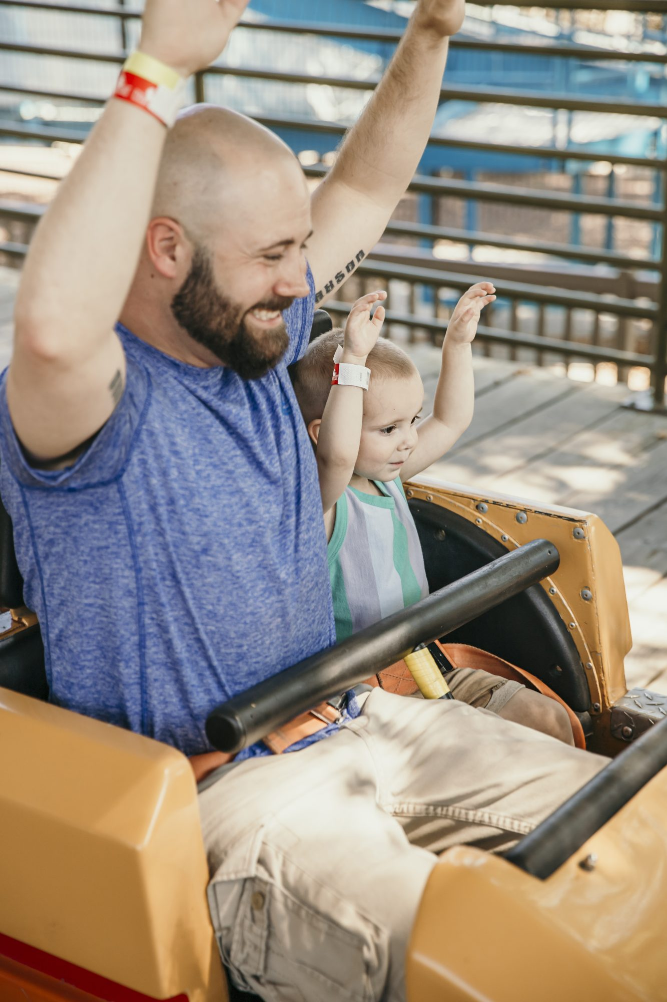 chris and jax riding their first roller coaster together
