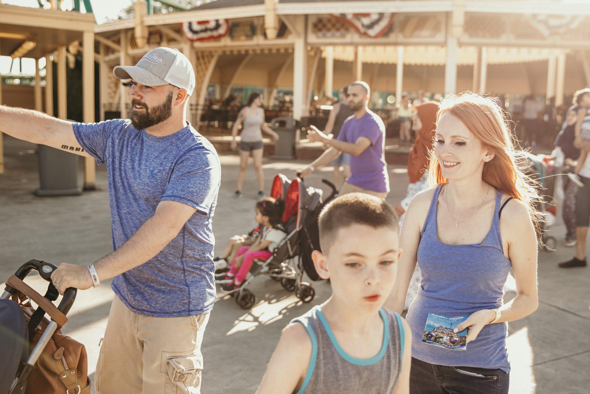 walking through cedar point as a family