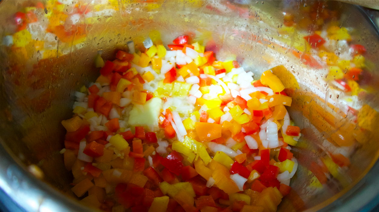 diced onions and peppers