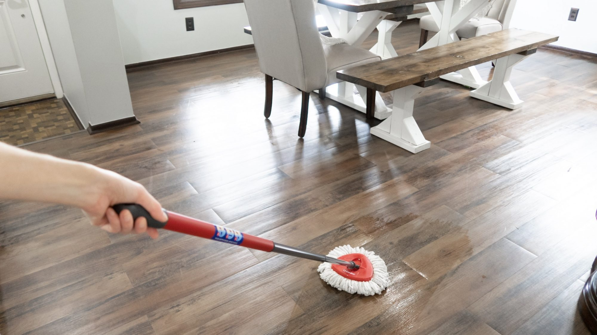 mopping with Homemade Floor Cleaner