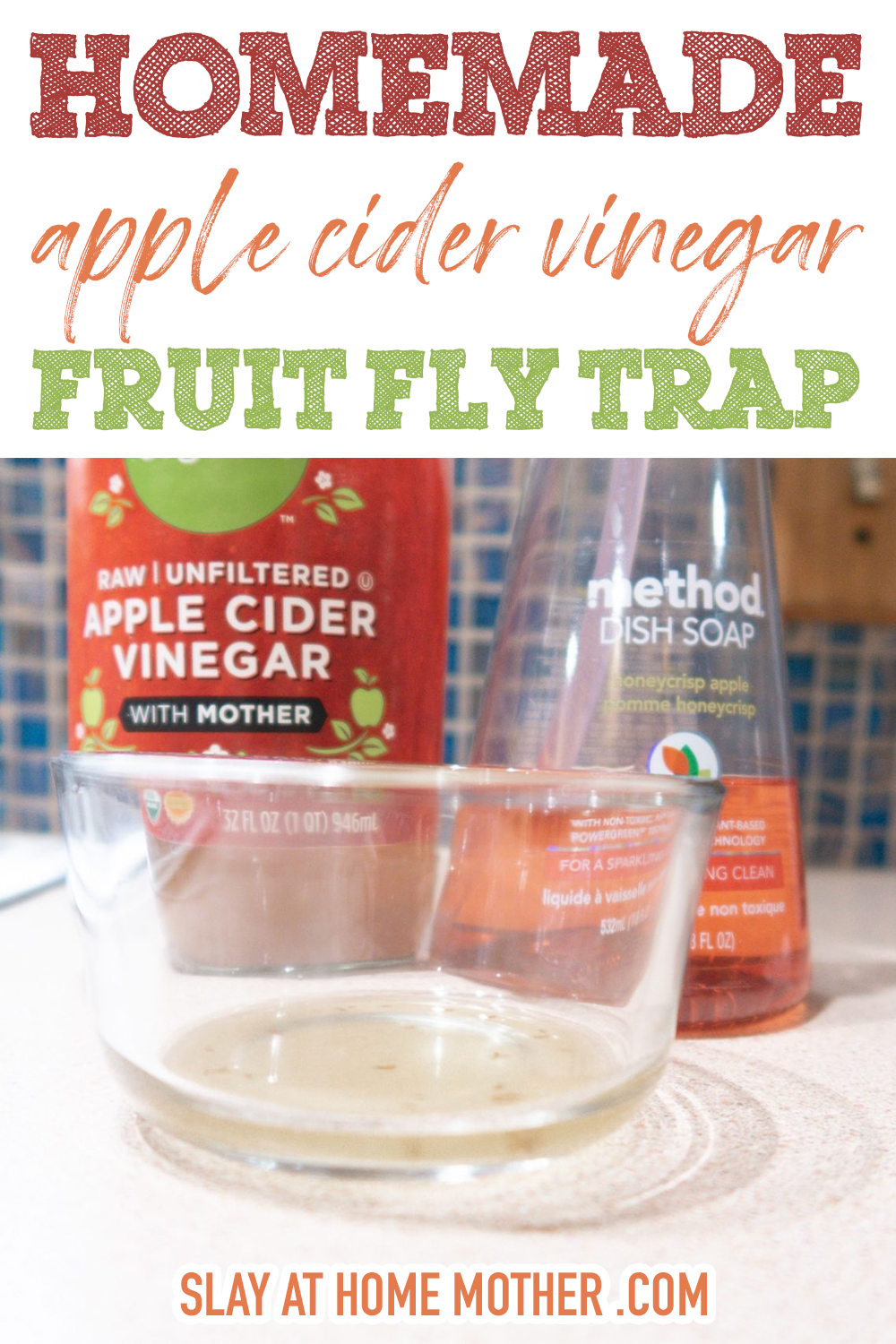 homemade fruit fly trap with acv