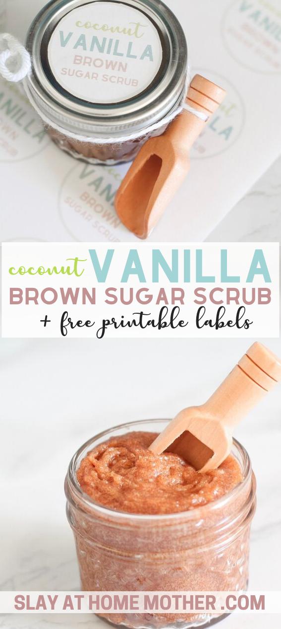 homemade sugar scrub with coconut and vanilla