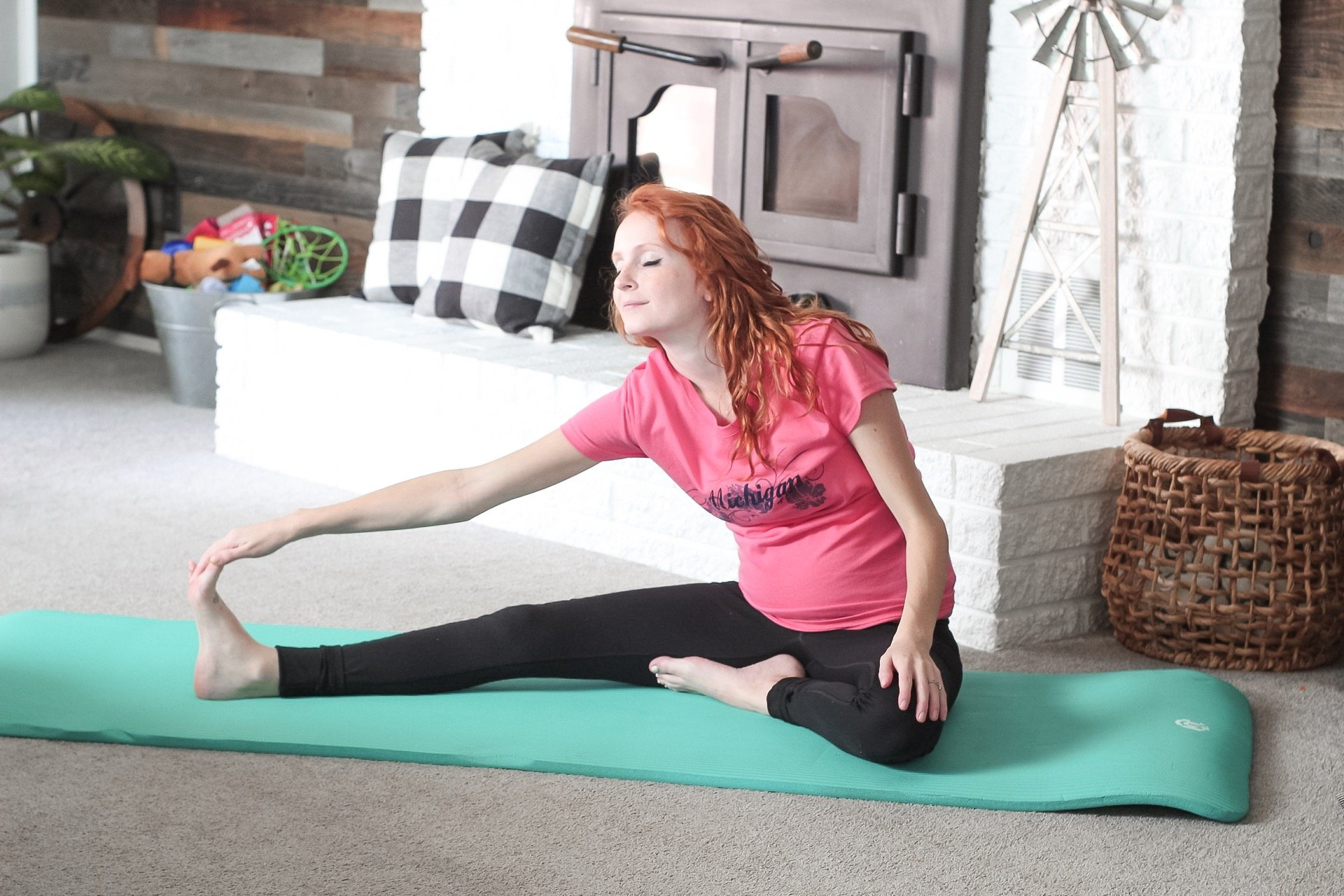 prenatal yoga poses head to knee pose