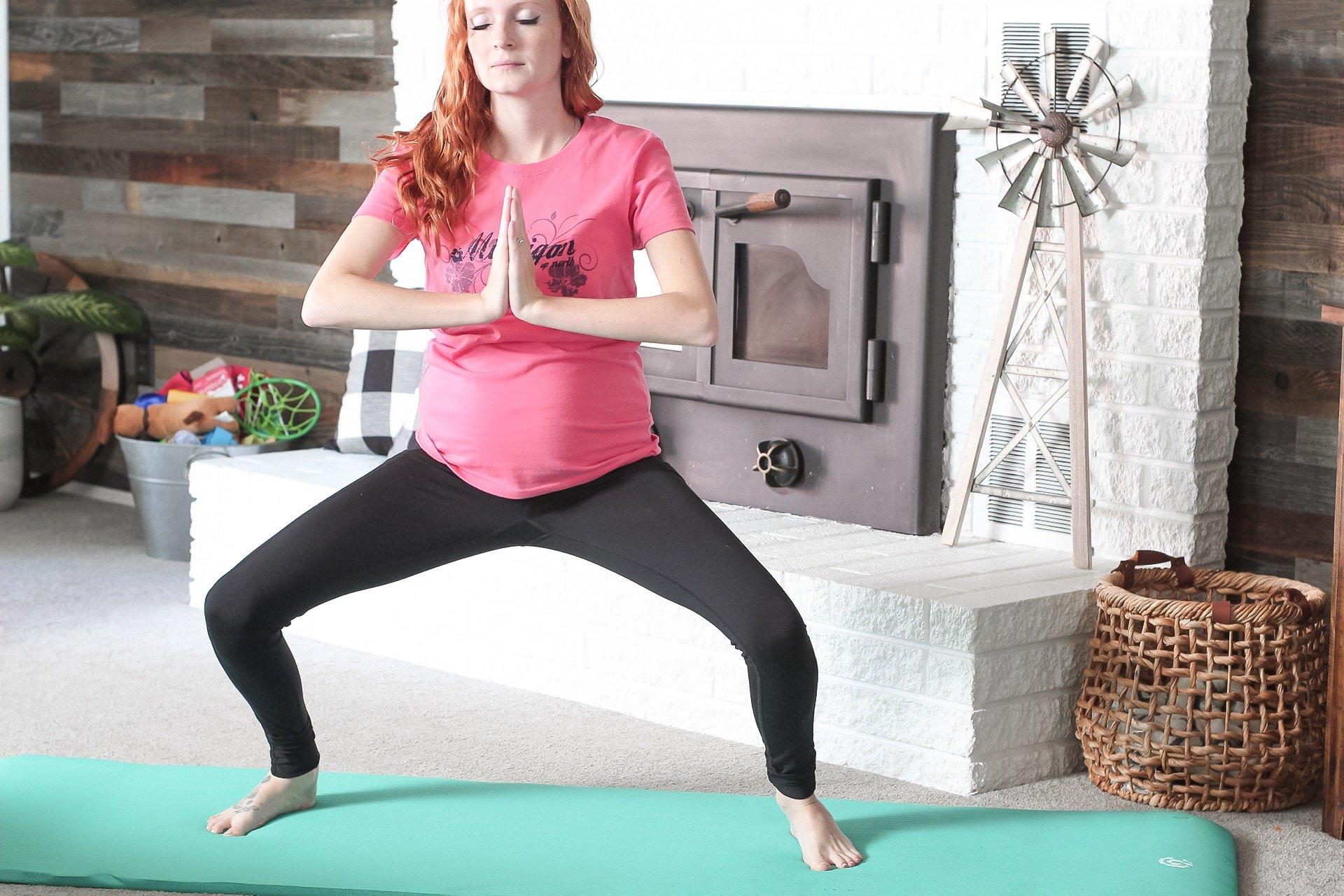 prenatal yoga poses sumo squat pose
