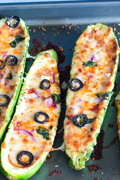 zucchini boats with toppings straight