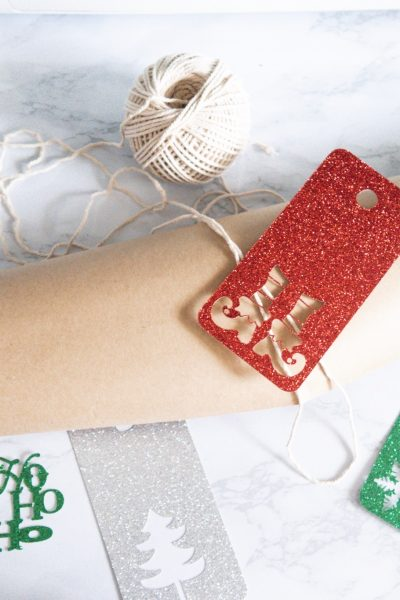 christmas gift tags wrapping paper and string