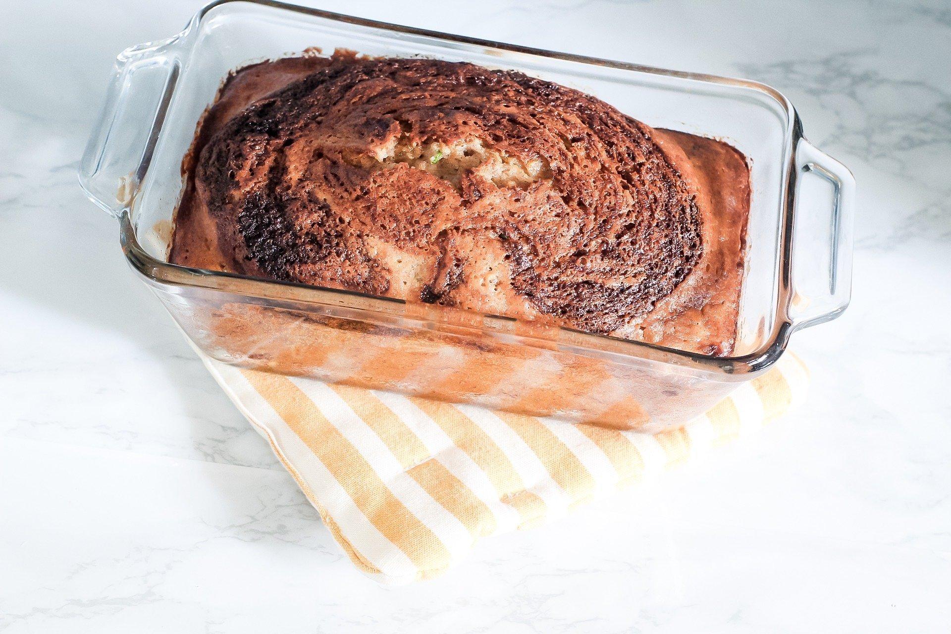 zucchini banana bread in loaf pan