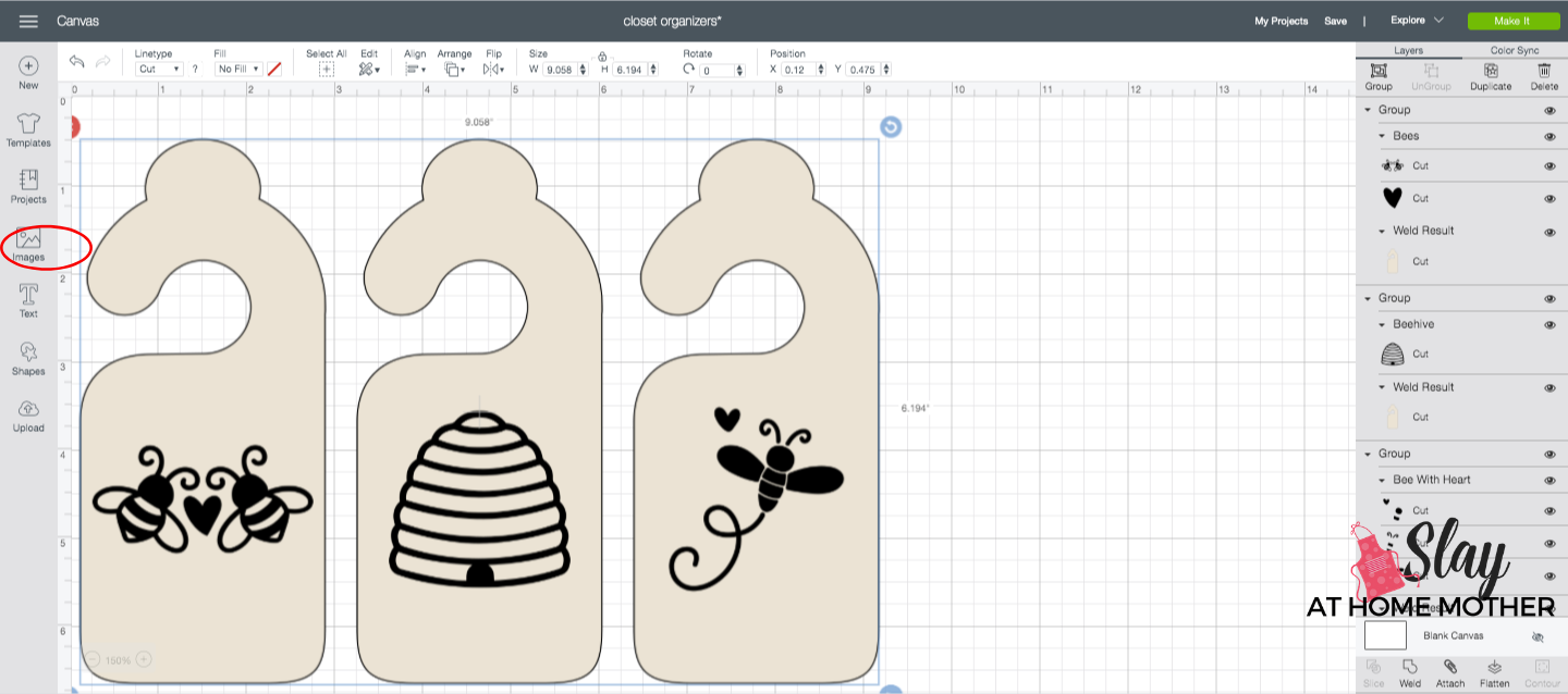 adding designs to closet dividers in design space screenshot