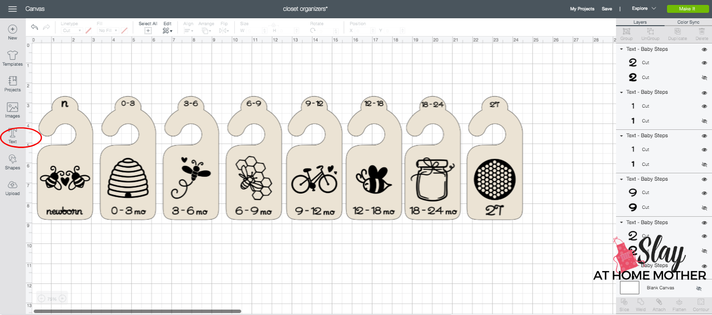 adding text to closet dividers in design space screenshot