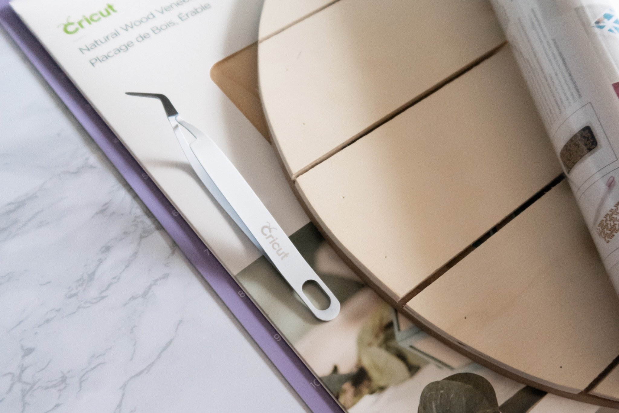 cricut wood veneers and tweezers