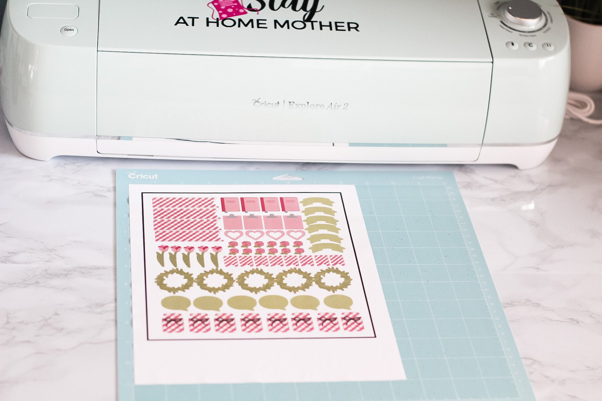 cutting stickers on sticker paper with cricut explore air 2