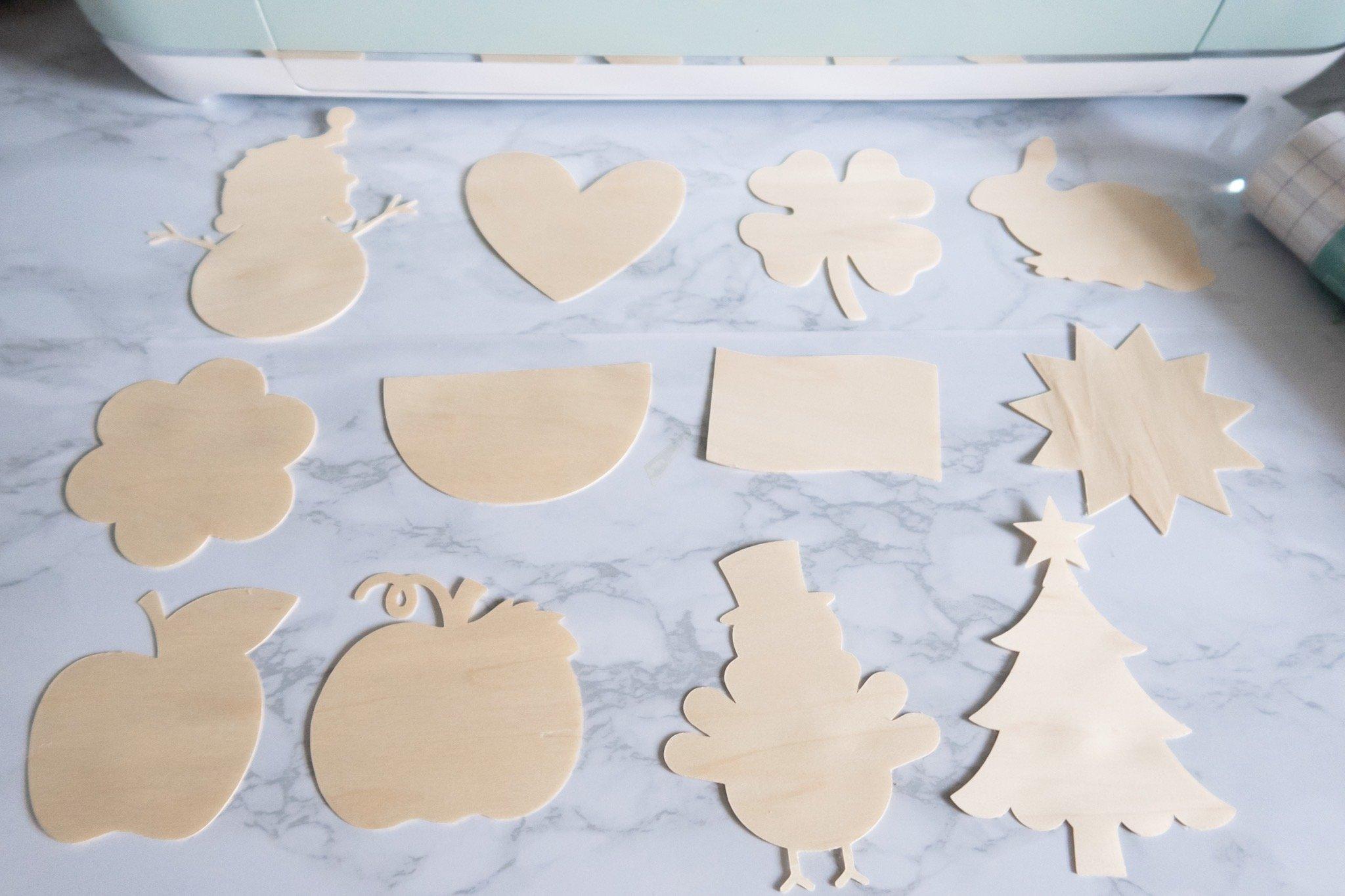 finished cut wood veneer shapes