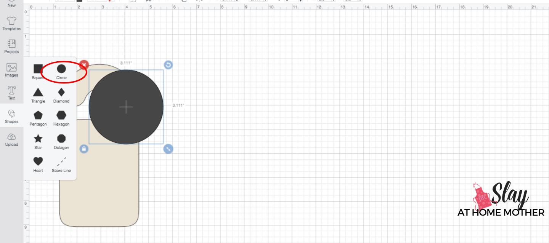 insert circle shape design space screenshot