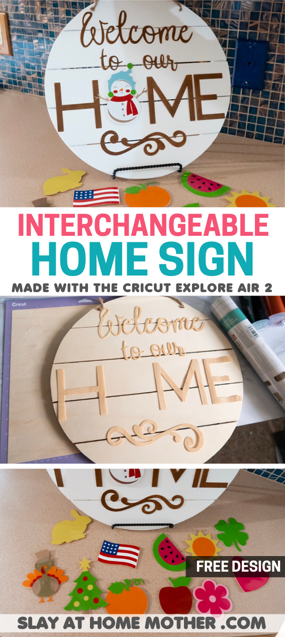 interchangeable home sign with cricut explore air 2