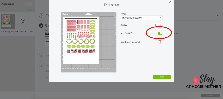 print then cut printer settings cricut screenshot