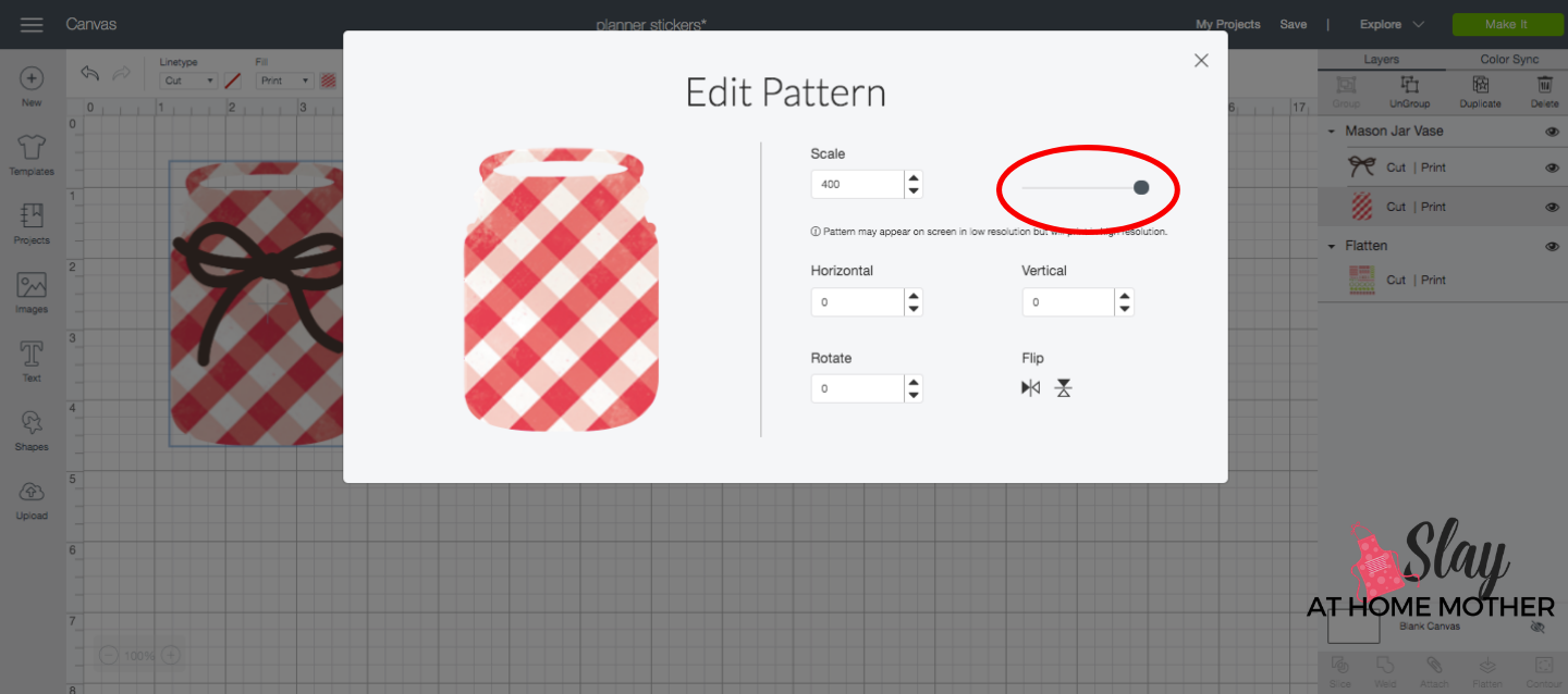 screenshot change pattern scale design space plaid