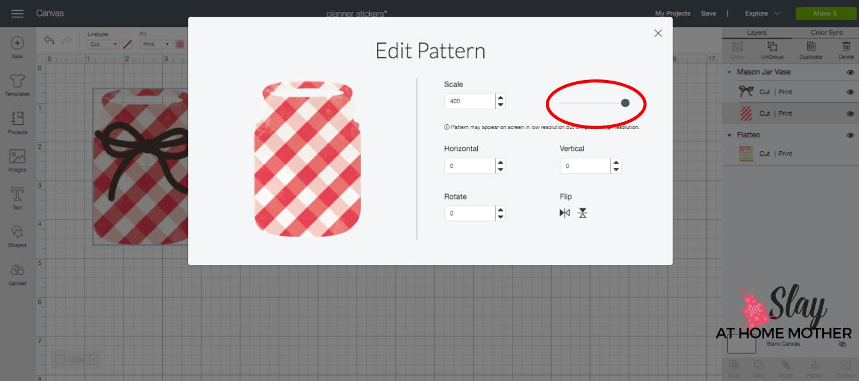 screenshot change pattern scale design space plaid