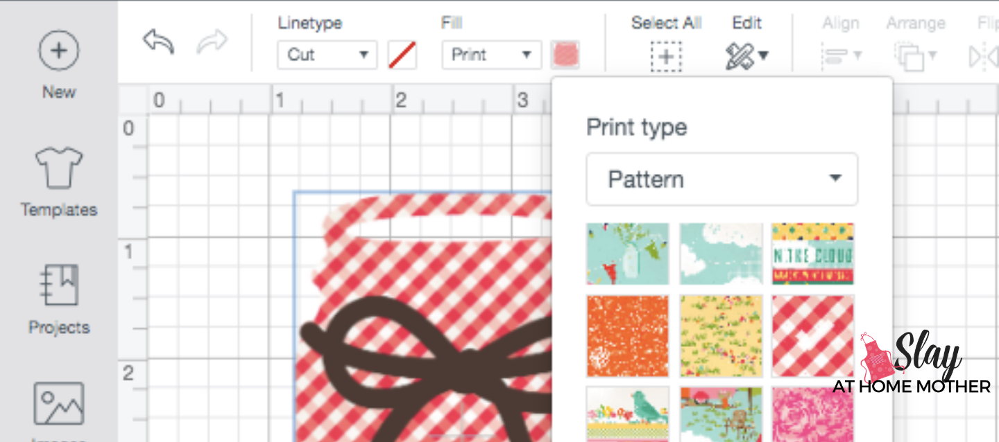 screenshot change print image fill to pattern design space plaid