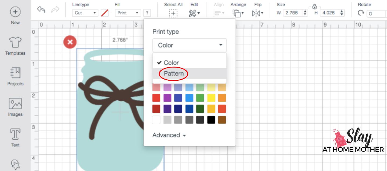 screenshot change print image fill to pattern design space
