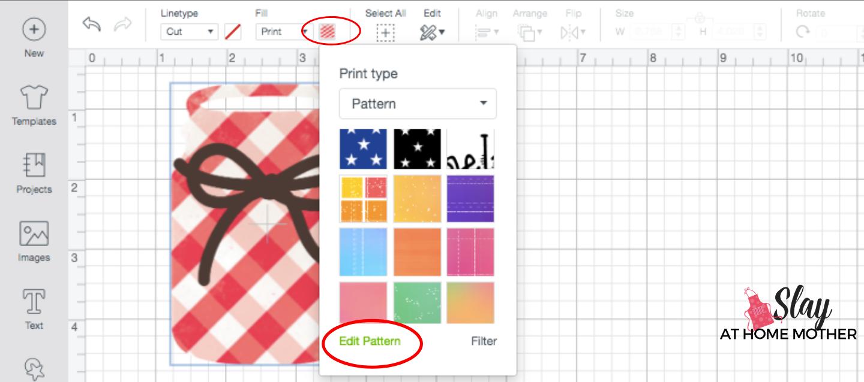 screenshot edit pattern scale in design space