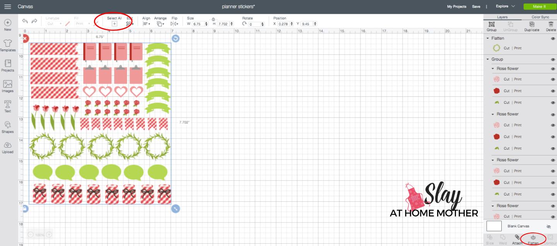 screenshot flatten images in cricut design space