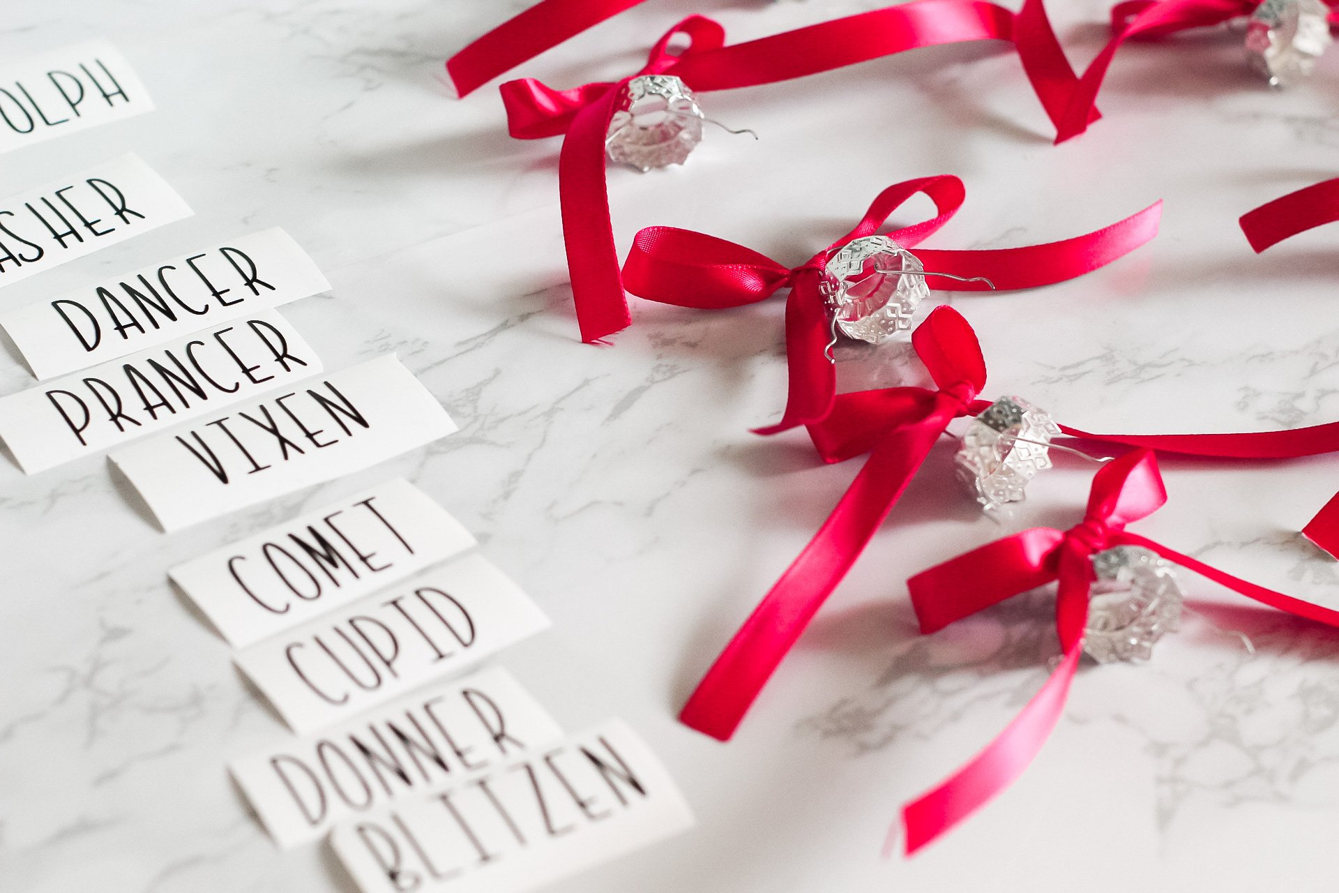 tied ribbon on glass ornaments