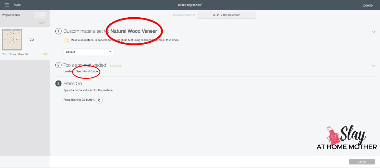 wood veneer cut settings in design space screenshot